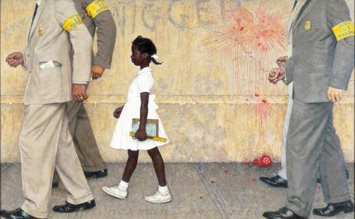 "theworldoutdoors:  The Problem We All Live With - by Norman Rockwell 1964 Painting of Ruby Bridges being escorted by U.S. Marshalls to her first day of unsegregated schooling in New Orleans, LA. ""Human progress is neither automatic nor inevitable… Every step toward the goal of justice requires sacrifice, suffering, and struggle; the tireless exertions and passionate concern of dedicated individuals."" Martin Luther King, Jr."