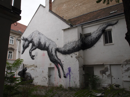 kimblasiansue:  ROA Around the World: Westbahnstrasse (fox and rabbit) Vienna; August 2011 - during my stay at the MQ Vienna on invitation of Inoperable