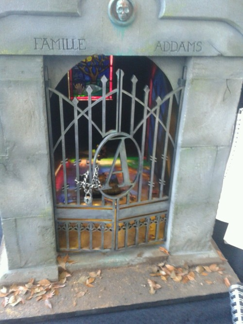 Handed in (slightly unfinished) Addams family mausoleum Proud of the stained glass though.