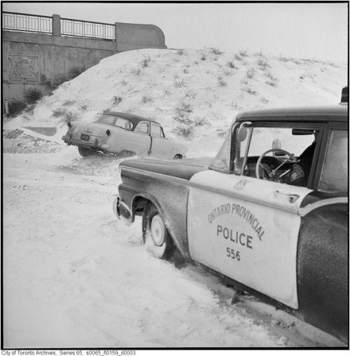 The OPP helping out on the QEW, 1960