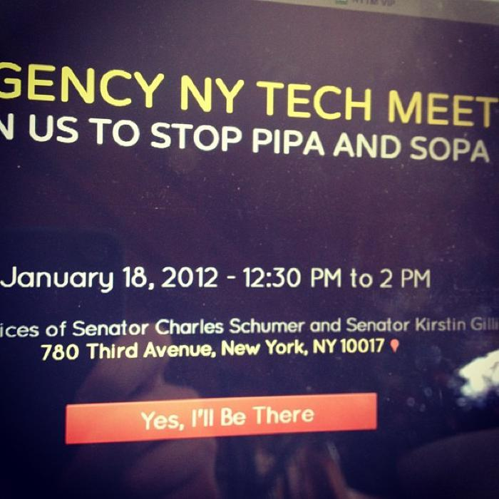We are holding an Emergency NY Tech Meetup to try and stop PIPA and SOPA next Wednesday during your lunch-break. More information here. Please RSVP and most importantly show up.