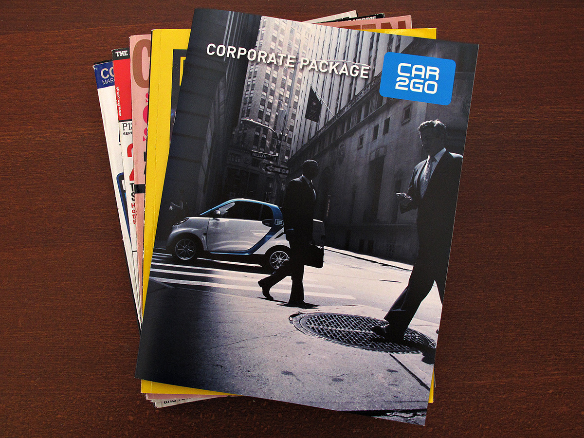 Car2Go Corporate Brochure Car2Go is a car sharing program that offers special edition Smart Cars to its members. Car2Go approached Allegra Marketing to develop a company brochure. This caters to corporate clients and explains the benefits of using Car2Go as company vehicles. The design is straightforward as the brochure is targeted to a very specific market. No fuss, just pure information needed to get the message across.  All photos in the brochure were provided by Car2Go. I hold no copyright on the final artwork.