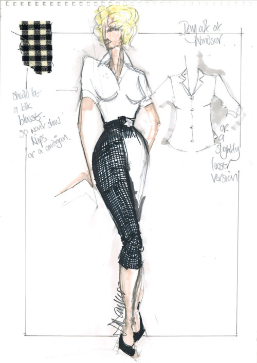 How My Week with Marilyn costumer Jill Taylor turned that sketch—based on this real-life Marilyn outfit—into this, on Michelle Williams. More exclusive details on the costumes—including lots of sketches and a spirited vintage-undergarment discussion—here.  Sketch courtesy of Jill Taylor. Movie still by Laurence Cendrowicz/© 2011 The Weinstein Company.