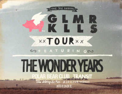 "thewonderyearsband:  Pre-sales for the Glamour Kills Tour Featuring friends The Wonder Years, Polar Bear Club, Transit, The Story So Far and A Loss For Words will begin at 3PM on January 17th at www.theglamourkillstour.com.  You will have the option to purchase a regular show ticket or a  special bundle package which includes a ticket plus a limited tour 12""!    The 12"" is limited to 1,000 copies and is comprised of each band covering a song from another band on the tour!    The track listing will include : The Wonder Years covering Into It. Over It's ""Anchor""  Polar Bear Club covering Transit's ""Skipping Stone"" Transit covering Polar Bear Club's ""Resent and Resistance"" The Story So Far covering A Loss For Word's ""Wrightsville Beach"" A Loss For Words covering The Story So Far's ""Quicksand"" Into It Over It covering The Wonder Year's ""Don't Let Me Cave In"""