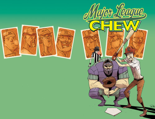 CHEW Vol.5 TPB Cover. Probably will do a little more work on the baseball card character shots before this sees print in April.