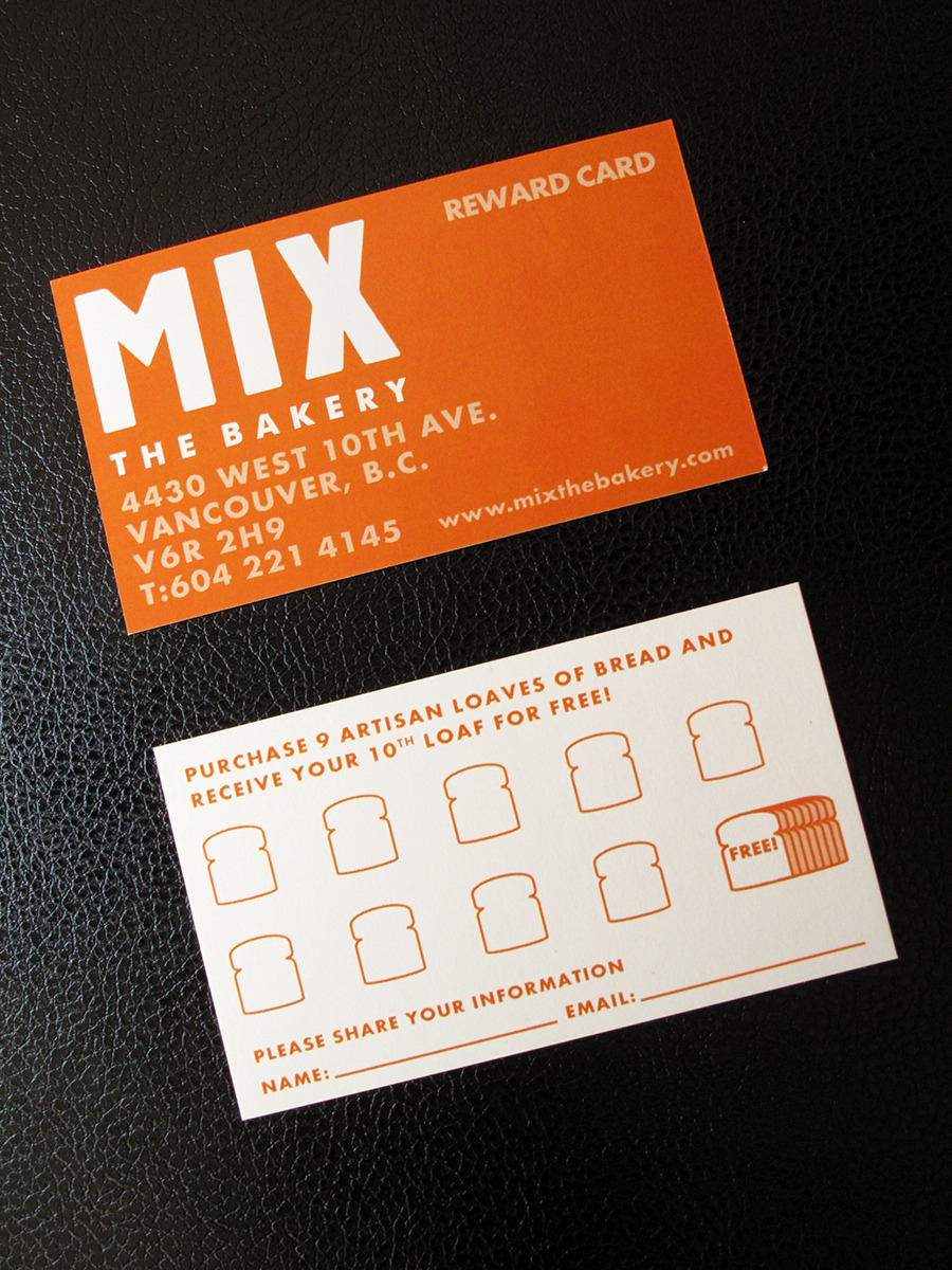 Mix the Bakery Reward Card Mix the Bakery's branding is a product of Don Bull's creativity. One of the projects that he had to pass on to Allegra Marketing was this reward card. We were given full privilege to design the stamp section. Rewards cards usually have repetitive stamp design and even most of the time just empty boxes. I made it look more interesting by showing a visual progression with those boxes.