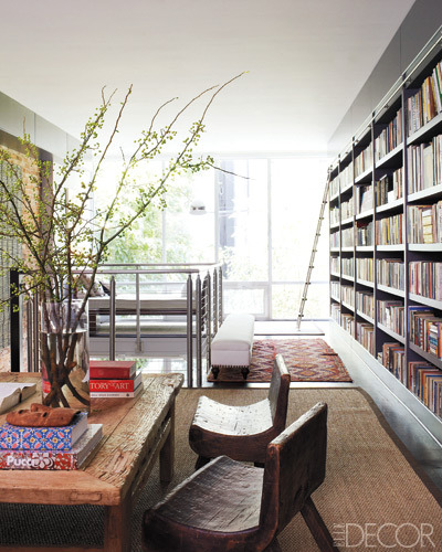georgianadesign:  The library in designer Cristina Azario's  renovated brownstone in East Harlem, NYC. Elle Decor.
