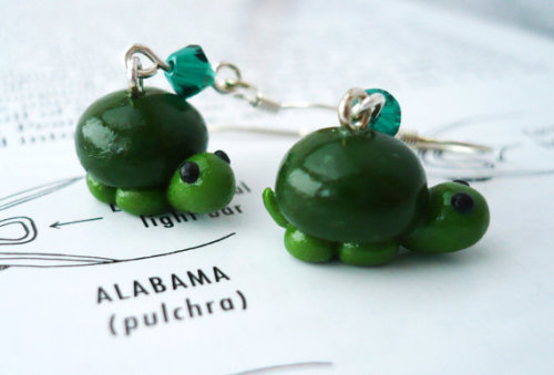 Little Green Turtle Polymer Clay Dangle Earrings by EchoesofNature