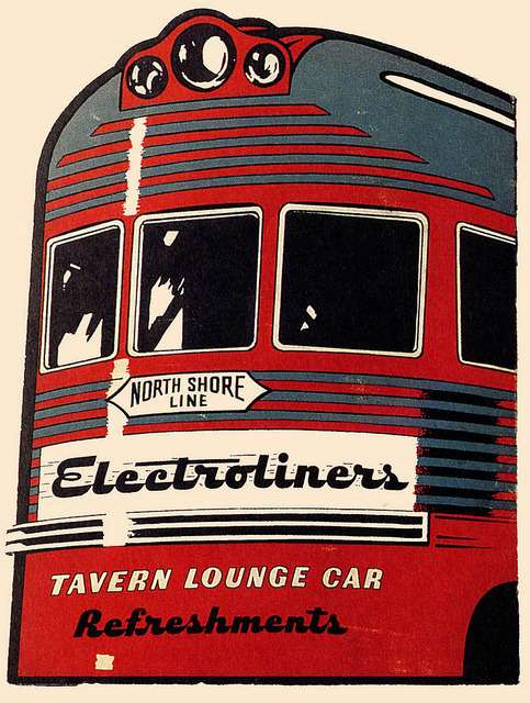 oldadvertising:  Electroliner Tavern Lounge Car by paul.malon on Flickr. Via Flickr: For all your refreshment needs.