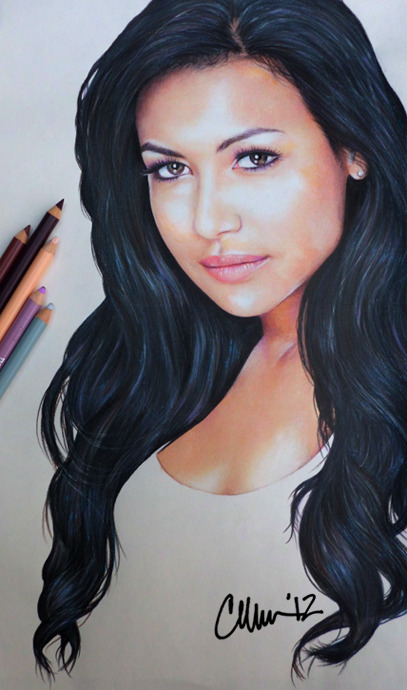 thisdoesnotsuck:  Naya Rivera Drawing Post-A-Drawing-Friday. Photo of drawing. Prismacolor pencil. Portrait drawings - working through the cast.