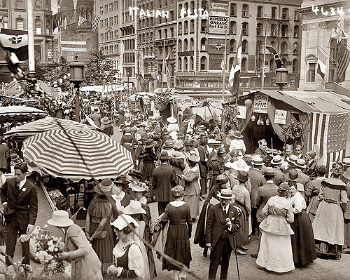 Italian Festa. Circa 1912 street festival in New York's Little Italy.