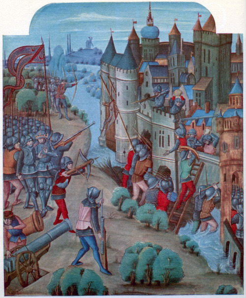 jothelibrarian:  Pretty medieval manuscript of the day shows a siege as it nears its end. The walls have been breached. Crossbow bolts are loosed. Cannon are loaded. Yet everything is strangely stilled and stilted. There is none of the abject misery and starvation that Froissart aludes to in his Chronicle. Image source: A fifteenth century manuscript from the John Soane's Museum. Image declared to be public domain on Wikimedia Commons because its copyright has expired.