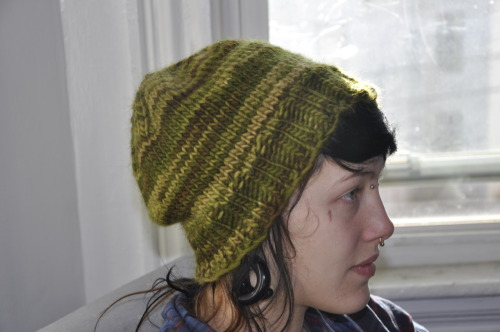 One of two hats I made for the RAMPS Campaign, an organization that fights mountaintop removal mining in southern Appalachia. They need gear for winter! Check out what they need here. More warm things, including hats in camo and earth tones, are definitely needed.