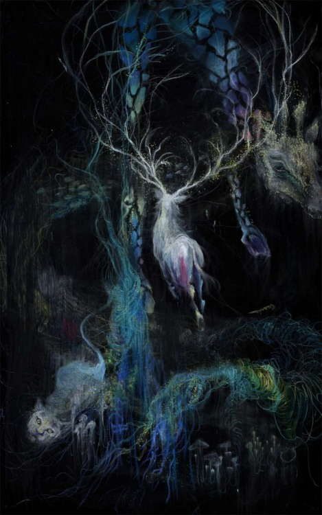 Nu Ryu - Forest | Under the water. Pastels on fabric, 28x44inches (2008) [more Nu Ryu | Tumblr Monday with artandopinion]