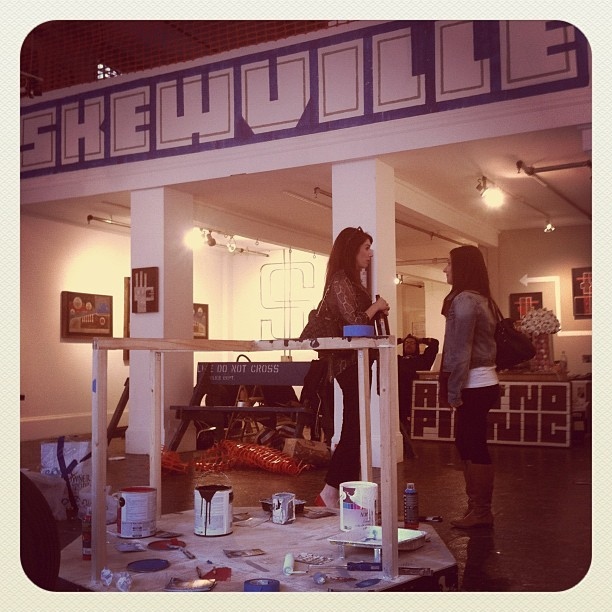 Skewville's show is coming together nicely at White Walls in SF.  #whitewalls #art #artist #streetart #skewville (Taken with Instagram at White Walls)