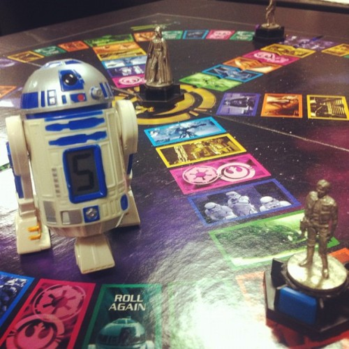 Playing mega-awesome Star Wars Trivia Pursuit with the baddest dice ever!!! #starwars #nerd (Taken with instagram)