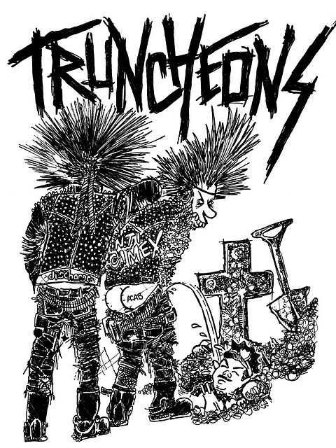 -TRUNCHEONS T-SHIRT DESIGN (white)- ballpoint pen//sharpie