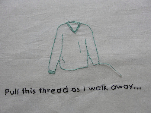 "totesawkstitch:  ""Undone"" embroidery"