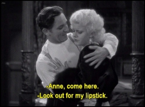 the-asphalt-jungle:  Jean Harlow's lipstick isn't kiss-proof………………………………………………….Platinum Blonde (1931)  I know exactly what she means.