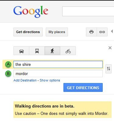 google you are fucking amazing.  go to google maps. Type in the shire and mordor under walking directions :)