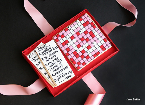 classymissmolassy:  How to make a romantic crossword puzzle cookie for Valentines.