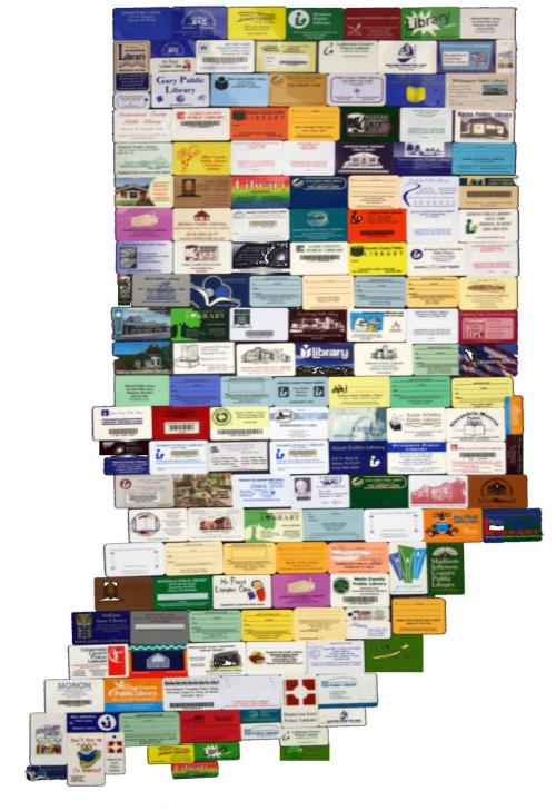 This is a map of all the library cards in the state of Indiana! The Indiana State Library is presenting an exhibit on over 150 years of history in the state's public libraries.