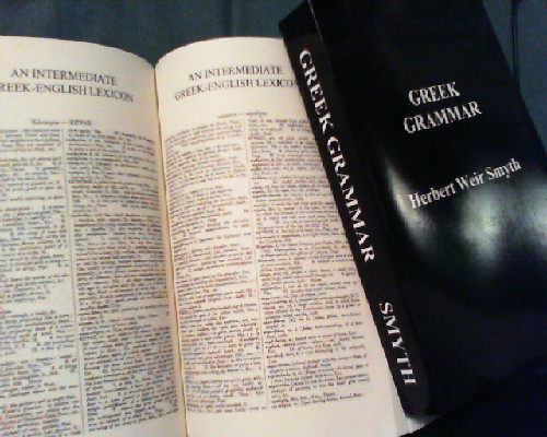 Look what came in today! My new Ancient Greek Grammar & my Lexicon…. let the misery begin xD