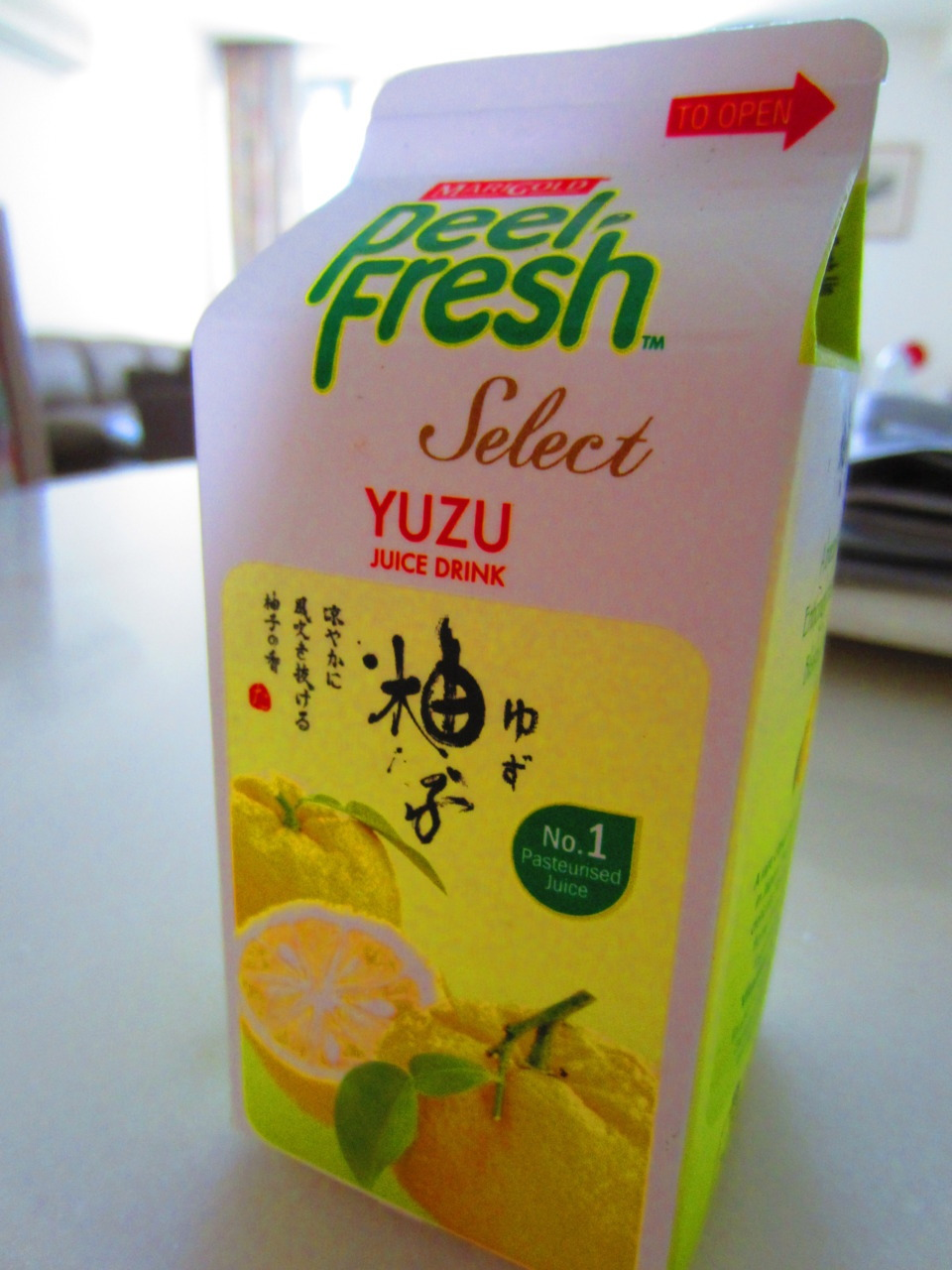 Peel Fresh Yuzu Juice So I drank this last year… lol and forgot to give a review. (Alright, that's a lie. I got really lazy.) Well this was fun to try? Wasn't as sweet as expected but very refreshing. I'd prefer my yuzu rock candy any day though :)