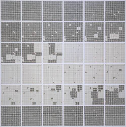 obsessedbythegrid:  Jennifer Bartlett, Surface Substitution on 36 Plates, 1972.