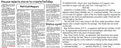 """Ron Paul Did Not Vote for MLK Day""- TheRoot.com ""In a blog entry at Atlantic magazine, Ta-Nehisi Coates examines GOP presidential contender Ron Paul's House  voting record and determines that he did not cast a vote in favor of MLK  Day. Coates conducted the research after a rumor erupted on Twitter  during the GOP debates in New Hampshire on Saturday that Paul voted in  favor of the legislation. … But first here's Ron Paul on Martin Luther King Day in his newsletters: ""Boy, it sure burns me to have a national holiday for Martin  Luther King. I voted against this outrage time and time again as a  Congressman. What an infamy that Ronald Reagan approved it! We can thank  him for our annual Hate Whitey Day."" … Paul's supporters link to his Yea vote on this 1979 bill as evidence that he supported an MLK Holiday: ""TO AMEND H.R. 5461, MARTIN LUTHER KING HOLIDAY, BY DESIGNATING  THE THIRD MONDAY IN JANUARY RATHER THAN JANUARY 15 AS THE LEGAL  HOLIDAY.""  But this actually isn't the bill for the holiday. The text  doesn't even claim that. More importantly, the date is wrong. This vote  was taken on December 5, 1979. The vote for the King holiday was actually taken on November 13, 1979: The bill was called up in the House on Tuesday, November 13, 1979  … When the final vote was taken, 252 Members voted for the bill and  133 against — five votes short of the two-thirds needed for passage. I'm sorry to report that one of those Nay votes, as you can see here, was cast by one Ronald Paul. I'm sorry to further report that Paul again voted no on the 1983 bill that passed."" via- http://www.theroot.com/buzz/ron-paul-did-not-vote-mlk-day?wpisrc=root_more_news So who exactly is govtrack.us? According to the webiste, it was launched in 2004 by Joshua Tauberer as a hobby. It enables it's users to track the bills and votes of members of U.S Congress, allowing the users to check voting records and attendance relative to peers. http://www.govtrack.us/about.xpd -Here's the thing. GovTrack is not an official government website nor is it affiliated with government or the library of congress. GovTrack is paid though advertising. GovTrack misrepresents itself as being the absolute source for voting records and information, which it is not. GovTrack does not report 100% accurate information regarding Ron Paul and are inconsistent with the actual records of the Library of Congress, news reports and newspaper articles relating to these specific times/events. Anyone can look up these records via the Library of Congress, which posts all these records online already. http://www.loc.gov/index.html There is no reason to use a third party to get the information. ""I'm a civic hacker, which means finding creative technological solutions to real world problems."" - Joshua Tauber Tauber is also a longtime Ron Paul supporter and campaign donor. GovTrack is now a company that is run by many people who do in fact post correct information tracking actual votes, but not all of their information is truthful or consistent with actual findings. Why? You'll have to ask the ""civil hacker""/Ron Paul fan who owns the company for that answer. There's a difference between civil hacking and criminal hacking but Paultards just don't get it. Much like Ron Paul, they too have a nasty reputation. They seem to have a habit of lying, and using botnet http://en.wikipedia.org/wiki/Botnet to spam the web with fake support, statistics & fake information about their cult leader, Ron Paul Manson. As with any other cult member, a Paultard will go to great lengths in effort to defend/excuse King Ron Paultard, often times crossing the line in desperation. Some Examples Of Paulbot Hacking & Spamming: http://www.rollingstone.com/music/news/no-doubt-nicole-scherzinger-twitter-accounts-hacked-20120111  http://www.liveleak.com/view?i=076_1194268772  http://www.dailypaul.com/63052/someone-hacked-bill-oreillies-website  http://www.cnbc.com/id/21257762/An_Open_Letter_to_the_Ron_Paul_Faithful http://www.kansascurmudgeon.com/?p=85 So when it comes to honest records about Ron Paul, govtrack.us is not the answer. You'll notice when Paultards try to disprove negative facts about his crappy record, they'll direct you to a post on govtrack.us as ""proof"" but if you go straight to the source, you'll see it's a lie. http://www.loc.gov/index.html Another good resource is http://www.votesmart.org/about/history for honest tracking of voting records, attendance, and evaluations."