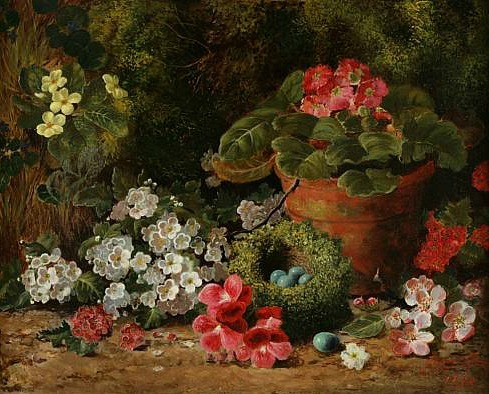 George Clare Primroses, Geraniums and a Bird's Nest 1878