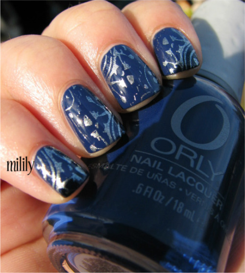 Orly La Playa stamped with Color Club Lumin-icent.  Plate: RA-104
