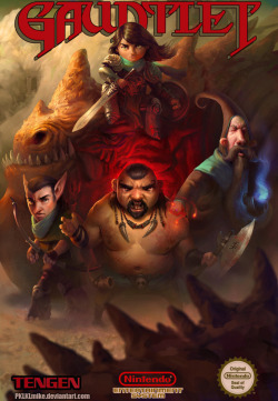 "justinrampage:  The Crimson Daggers dropped the art challenge ""Bloodsport 3: Gauntlet!"" on their website and dared anyone to remake the classic Gauntlet cover. Talented artist Mike Azevedo accepted this challenge and totally nailed a killer redesign filled with tons of unique style. Gauntlet Cover by Mike Azevedo / PkMike (deviantART) (Twitter) Submitted by: Dave Rapoza"