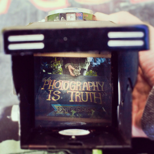 "photojojo:  ""Photography Is Truth"" Jean-Luc Godard  This week's featured photography quote from our Instagram stream. Have a favorite photography quote you think we should feature? Reblog and let us know what it is!"