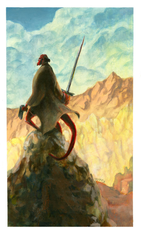 honeyemmstudio:  I decided to do Mignola's Hellboy, inspired by N.C. Wyeth. It's as though my geekiness and my artsiness had a bastard. It's funny how things that are meant to be will just turn out - This one took about a full night's work to complete. Acrylics, 2011.  oh wow this needs more notes