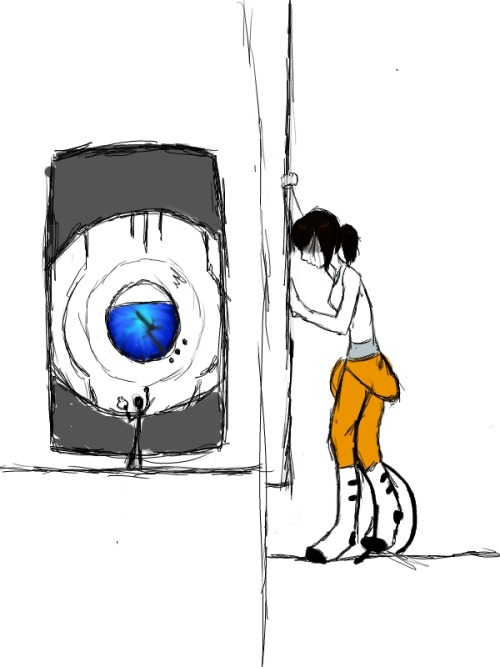 ugh this is really horrible and sketchy and wheatley's eye isn't bright enough but I wanted to share it with SOMEONE since all my friends aren't answering me right now I was listening to exile vilify and we all know how that goes so (also yes she's got her hand on the image of the apple sticker what of it it's not symbolism no sir)