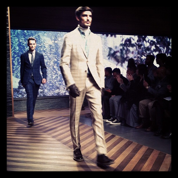 Checks, roll necks, texture, blue & many a tasseled loafer at #Zegna #MFW #Milan
