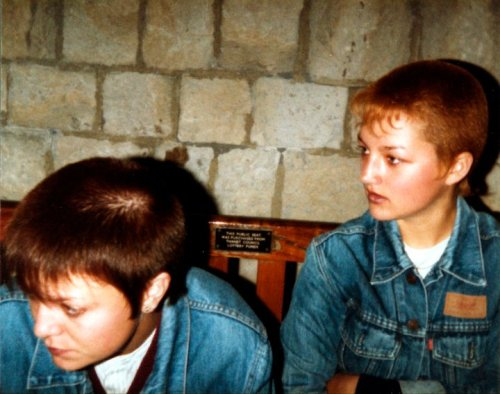 Skinhead girls, Margate clock tower, 1981.
