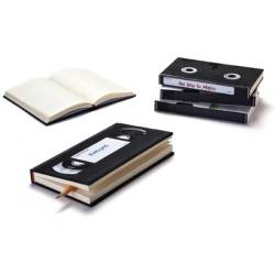 "VHS Cassette notebooks Peleg Design's ""Video Notebook"" bears an uncanny resemblance to a VHS cassette, and comes with labels for extra verisimilitude."