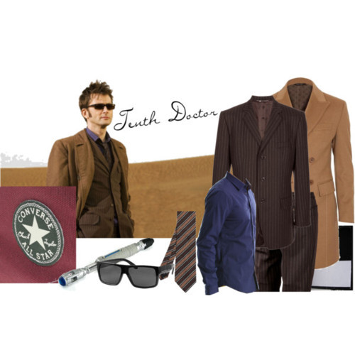 "The Tenth Doctor from ""Planet of the Dead"" DOLCE & GABBANA VINTAGE pinstripe suitBE FOR Double-Breasted Wool-Cashmere OvercoatConverse Chuck Taylor As Classic BootsStretch Snap ShirtDOLCE & GABBANA VINTAGE pinstripe suitStriped Silk Tie By HemleyBKE Sport Wayfayer Sunglasses"