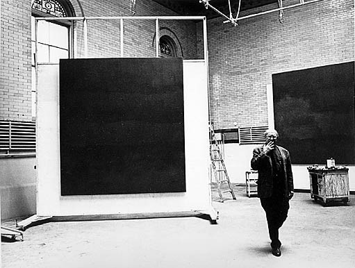 Mark Rothko in his 69th Street studio with Rothko Chapel murals, c. 1964.    Photo by Hans Namuth  © Hans Namuth Estate, courtesy Center for Creative Photography, The University of Arizona