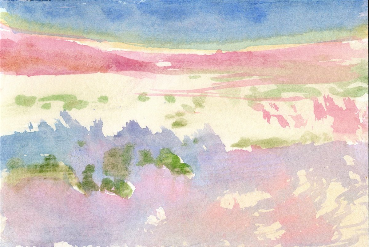 Desert Landscape 869  Watercolor   With Shadows in the Desert Hot Cool   #painting #art Desert Landscape 869 http://rgphil.com/?s=869