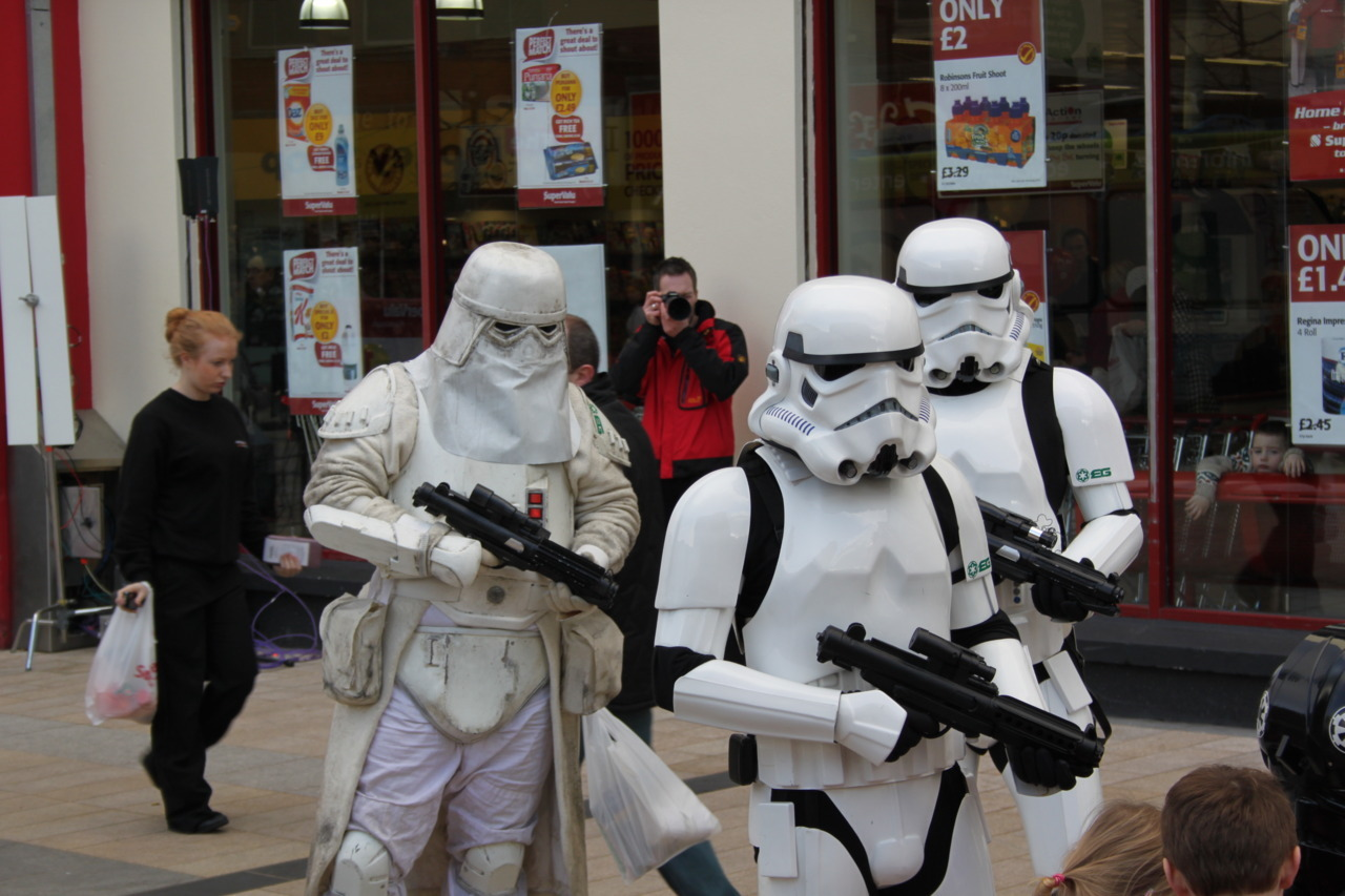 Storm Troopers in town today Not the biggest Star Wars fan, but this was kind of funny…
