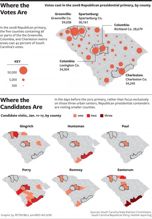 nationaljournal:  There are eight days left before South Carolina voters head to the  polls, and Republican presidential candidates are racing across the  state to reach as many voters as they can. But are they spending their  time efficiently?Talk to any old hand in the Palmetto State and you'll find some gripe about a presidential campaign's schedule. Read more »