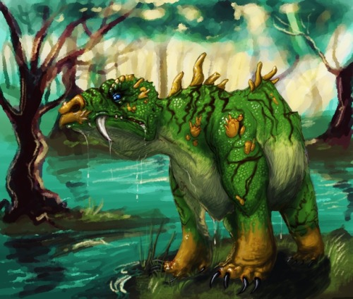 Swamp Beast. Something coloured over Livestream. 2 hours from a traditional doodle, finished in Gimp.