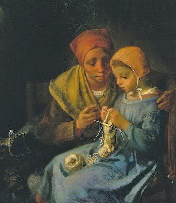 Jean-François Millet (French painter, 1814–1875) Knitting Lesson