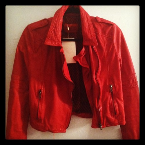 New leather jacket! #fashion #leather #outfit #red #Go49ers  (Taken with instagram)