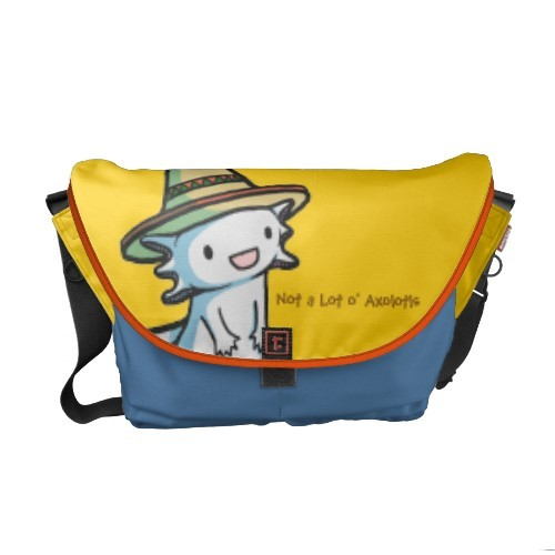 Not a Lot o' Axolotls products are back! I'm adding 6 new Rickshaw messenger bags today.  Each bags is customizable and 10% of every sale will be donated to the World Wildlife Fund.