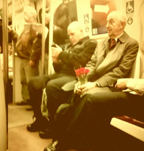 strawberryjq:  I saw this man on the Metro this past Monday, and asked him who the flowers were for. They were for his wife. They've been married for 47 years. Every Monday, he brings her home flowers after work. My heart died at that moment.