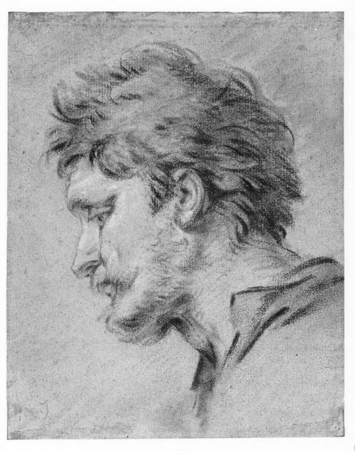 necspenecmetu:  Francois Boucher, Head of a Shepherd; study for the Altarpiece, The Nativity, at the Oratory of Madame de Pompadour, Chateau de Bellevue, 18th century